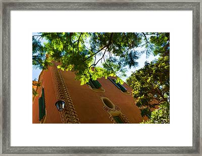 Whimsical Building Through The Trees - Impressions Of Barcelona Framed Print by Georgia Mizuleva