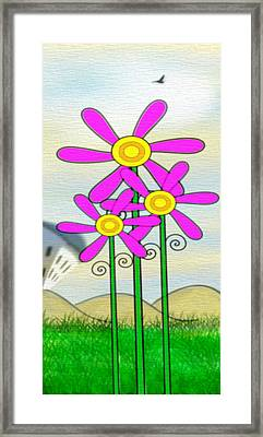 Whimsical Flowers Framed Print by Gina Lee Manley