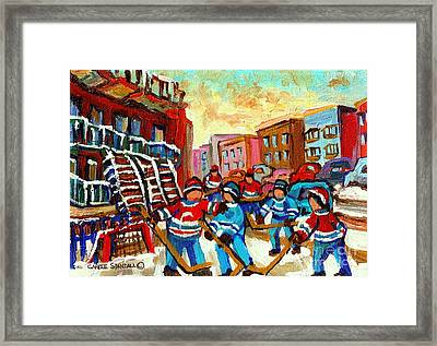 Whimsical Hockey Art Snow Day In Montreal Winter Urban Landscape City Scene Painting Carole Spandau Framed Print by Carole Spandau