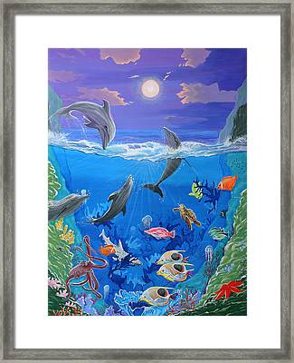 Whimsical Original Painting Undersea World Tropical Sea Life Art By Madart Framed Print by Megan Duncanson
