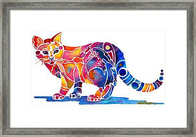 Whimzical Calico Kitty Framed Print by Jo Lynch