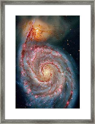 Whirlpool Galaxy In Dust Framed Print by Benjamin Yeager