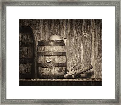 Whiskey Barrel Still Life Framed Print by Tom Mc Nemar