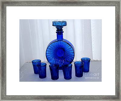 Whiskey Decanter And Shot Glasses Framed Print by Barbara Griffin