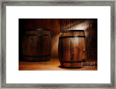 Whisky Barrel Framed Print by Olivier Le Queinec