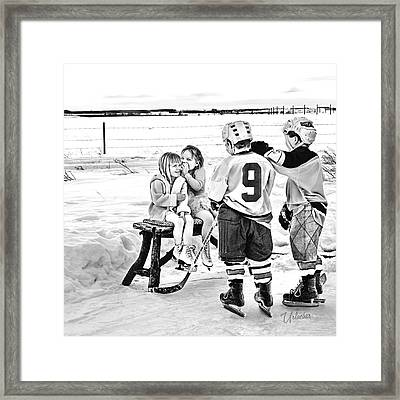 Whispers On The Backyard Rink Framed Print by Elizabeth Urlacher