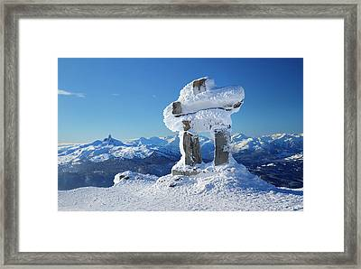 Whistler Mountain Inukshuk Framed Print by Pierre Leclerc Photography