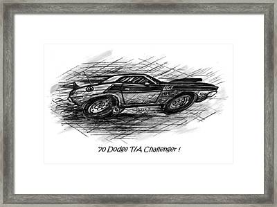 Whistling Winds Hot Rod Art - Dodge Challenger Cartoon Framed Print by Peter McCoy