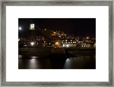 Whitby East Cliff By Night Framed Print by Rod Johnson