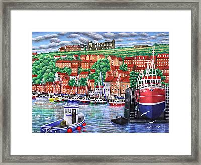 Whitby Harbour Framed Print by Ronald Haber