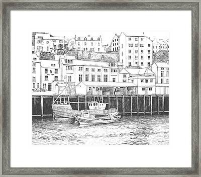 Whitby Harbour Framed Print by Shirley Miller