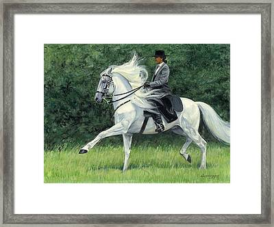 White Andalusia Flowing Mane Framed Print by Don  Langeneckert