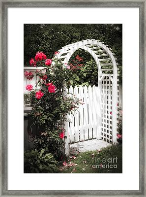 White Arbor With Red Roses Framed Print by Elena Elisseeva