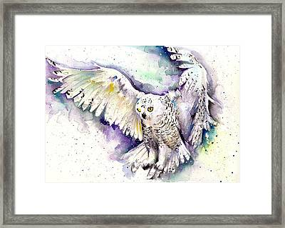 White Arctic Polar Owl - Wizard Dynamic White Owl Framed Print by Tiberiu Soos