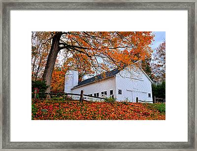 White Barn And Silo Framed Print by Thomas Schoeller