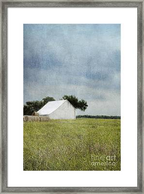 White Barn Framed Print by Elena Nosyreva