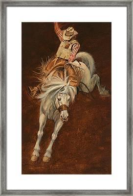 Bucking White Horse Framed Print by Don  Langeneckert
