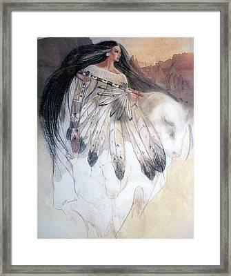 White Buffalo Calf Woman Framed Print by Pamela Mccabe