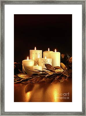 White Candles With Gold Leaf Garland  Framed Print by Sandra Cunningham
