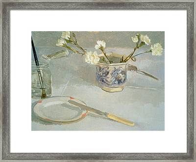 White Carnations In January Oil On Canvas Framed Print by Sarah Butterfield