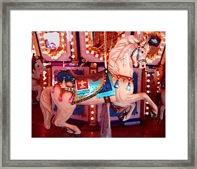 White Carousel Horse Framed Print by Amy Vangsgard