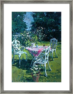 White Chairs At Belchester Framed Print by Susan Ryder