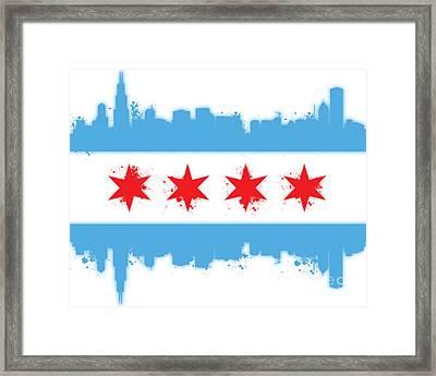 White Chicago Flag Framed Print by Mike Maher