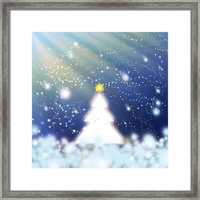 White Christmas Tree Framed Print by Atiketta Sangasaeng