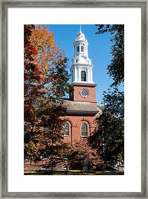 White Church Steeple New Haven Green Connecticut Framed Print by Robert Ford