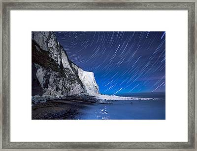 White Cliffs Of Dover On A Starry Night Framed Print by Ian Hufton