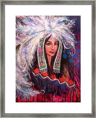 White Cloud's Head Dress Framed Print by Kimberly Van Rossum