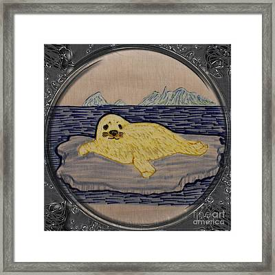 White Coat Seal Pup On Ice Flow - Porthole Vignette Framed Print by Barbara Griffin