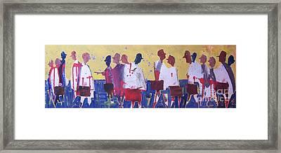 White Coats Walking Framed Print by Larry Lerew
