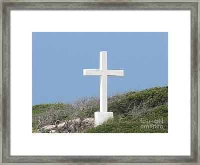 White Cross Framed Print by Michelle Powell