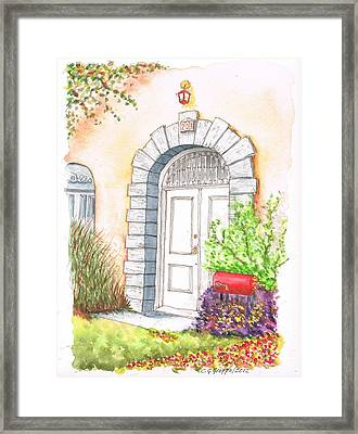 White Door In Santa Monica - California Framed Print by Carlos G Groppa