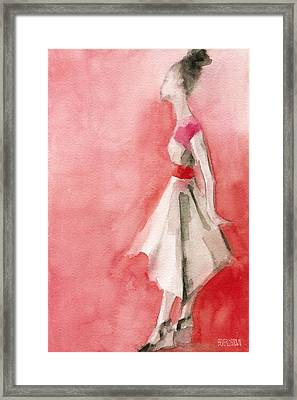 White Dress With Red Belt Fashion Illustration Art Print Framed Print by Beverly Brown Prints