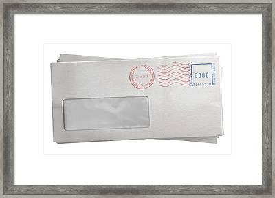 White Envelope Stack Framed Print by Allan Swart