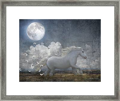 White Feathered Moon Framed Print by Terry Kirkland Cook