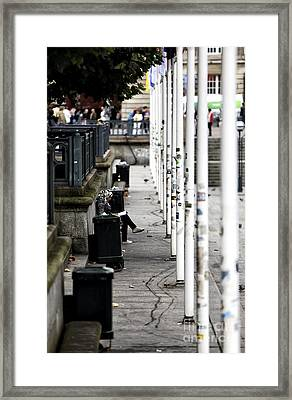 White Flagpoles Framed Print by John Rizzuto