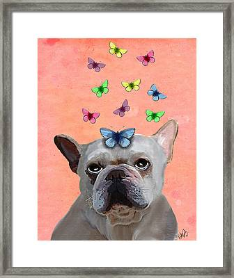 White French Bulldog And Butterflies Framed Print by Kelly McLaughlan