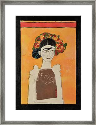 White Frida Framed Print by Jennie Cooley