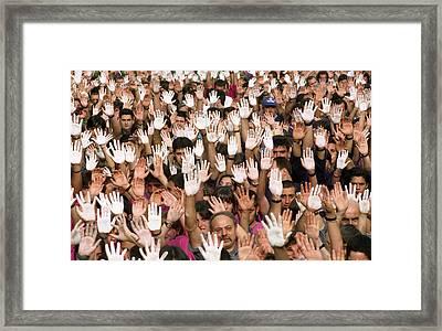 White Hands  - Manos Blancas Framed Print by Rafa Rivas