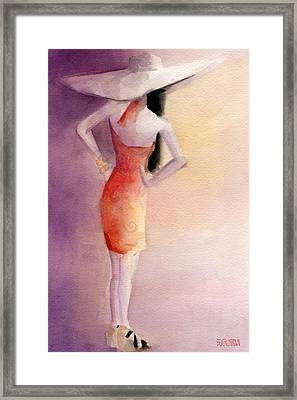 White Hat And Orange Sundress Fashion Illustration Art Print Framed Print by Beverly Brown Prints