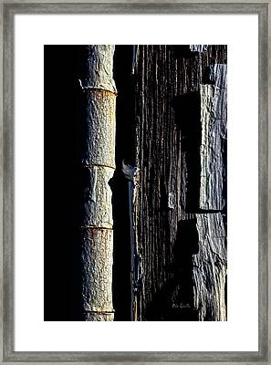 White Hinge On The Old Red Barn Framed Print by Bob Orsillo