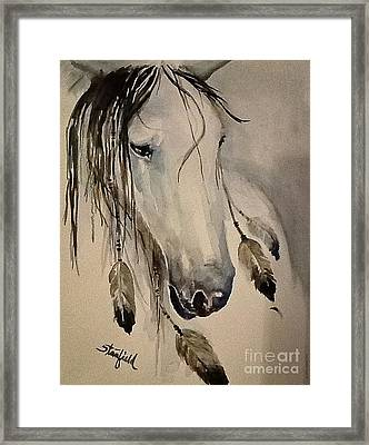 White Horse Listening Framed Print by Johnnie Stanfield