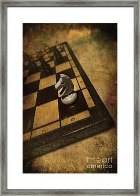White Horse On The Chess Board Framed Print by Jaroslaw Blaminsky