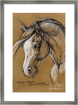 White Horse Soft Pastel Sketch Framed Print by Angel  Tarantella