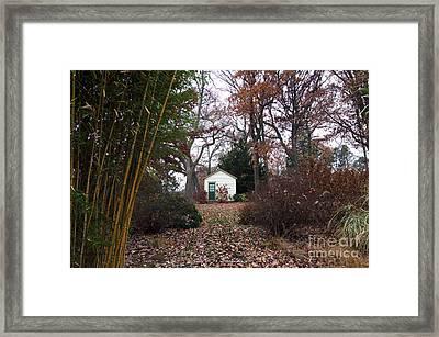 White House In The Garden Framed Print by John Rizzuto