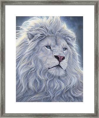 White Lion Framed Print by Lucie Bilodeau