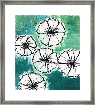White Petunias- Floral Abstract Painting Framed Print by Linda Woods